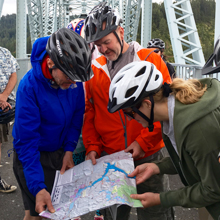 cyclists with map