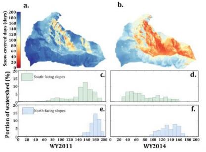 Spatial distribution of days of snow-cover in the Reynolds Creek Watershed, Idaho