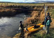 Idaho State University geoscience graduate students prepare sensors and cameras for a Fall 2016 survey of stream conditions on Marsh Creek, a tributary to the Portneuf River in southeast Idaho.