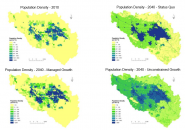 Figure 1: Alternative scenarios of population density in the Boise metropolitan area.
