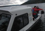 LaSES researchers collecting zooplankton at Coeur d'Alene Lake. Photo: Frank Wilhelm, LaSES.